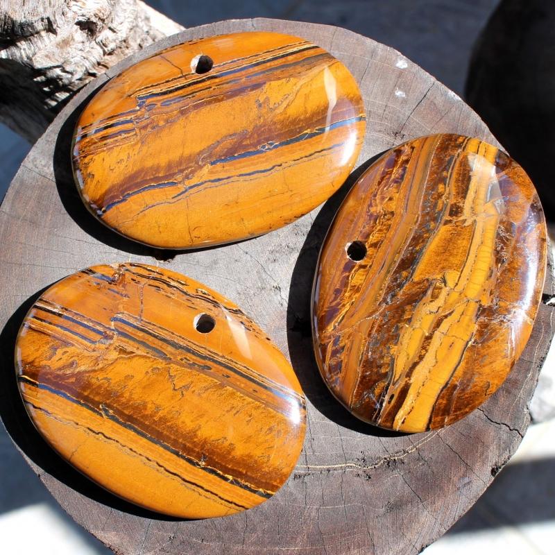 Tigerauge gebändert großer Oval Anhänger 70*50mm