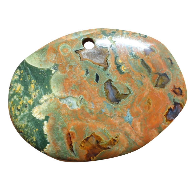 Rhyolite Oval Disc Pendant BIG 70*50mm