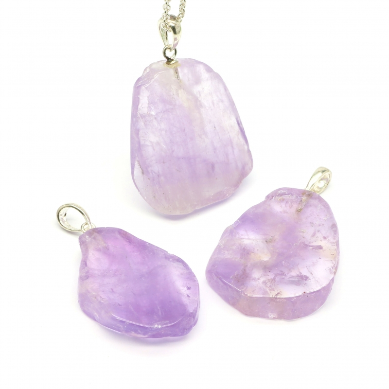 Amethyst Slice Stone Pendant with Silver 925 25/30mm