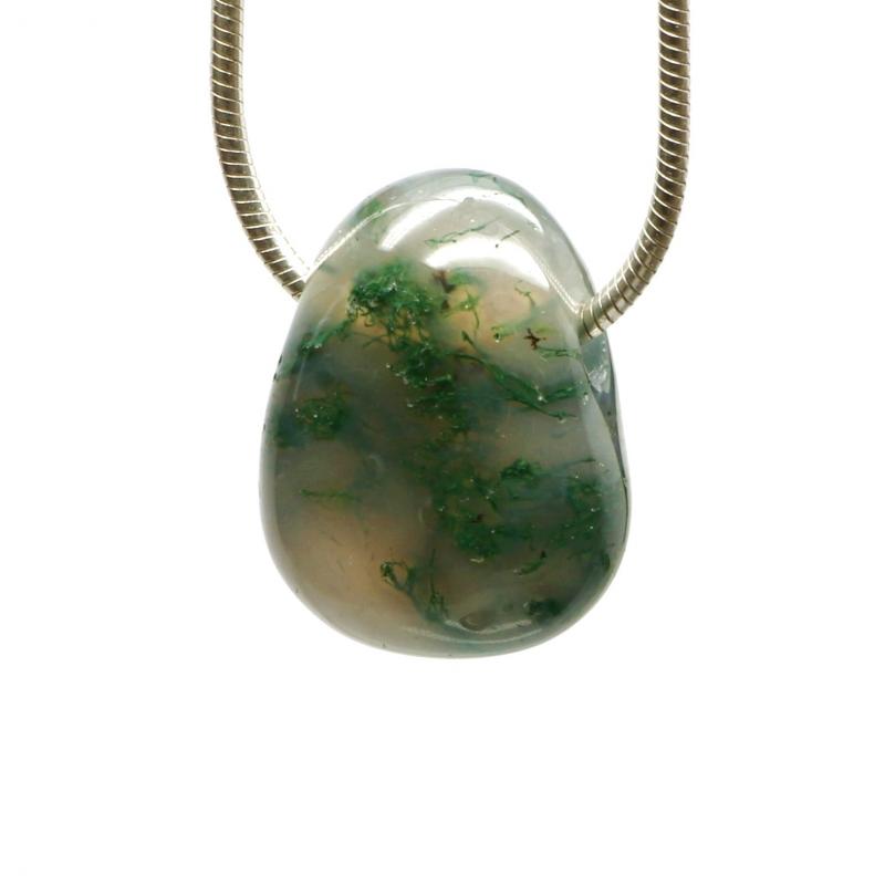 Moss Agate Mini pendant small A-quality 16-18mm