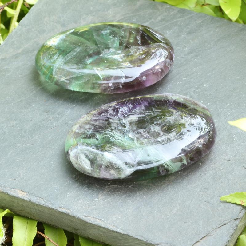 Fluorite Rainbow Flat Stone 45x30mm