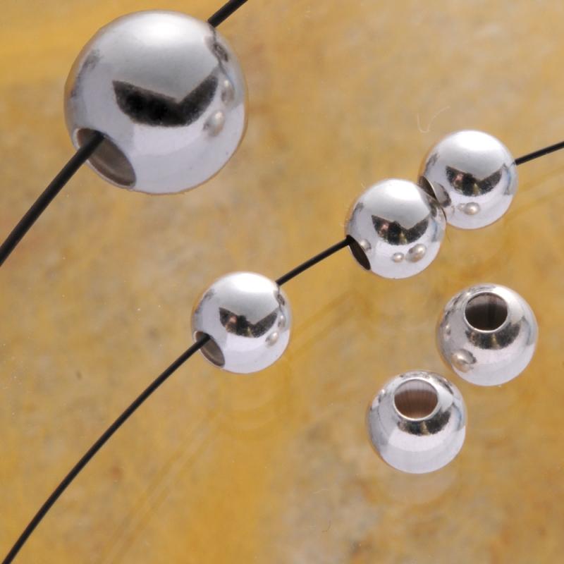 Silverbead 5m, glossy,1.9mm Hole Silver Bead 925