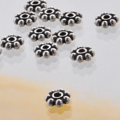 Zwischenperle 7 Punkt Silber 925 Blume Zwischenteil 6mm