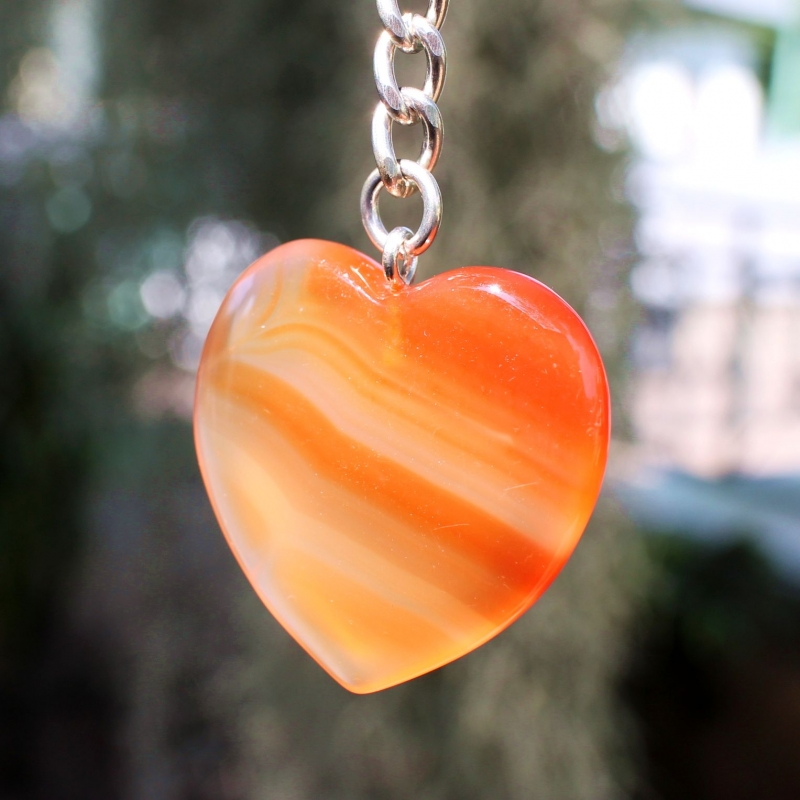Carnelian Keyring With A Size Of Approx. 36 To 45mm.