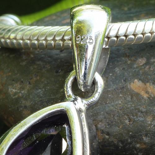 Amethyst Gemstone Pendant 925 Silversterling 20x14mm