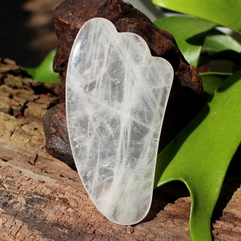 Gua Sha Massage Schaber Bergkristall Naturstein 105x50mm