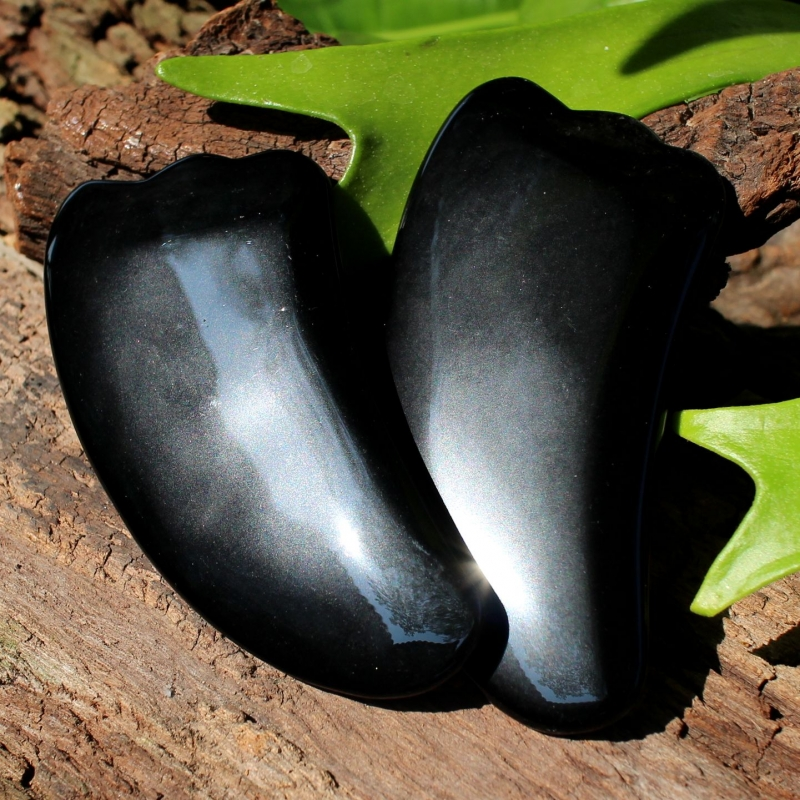 Gua Sha Massage scraper Black Obsidian 105x50mm