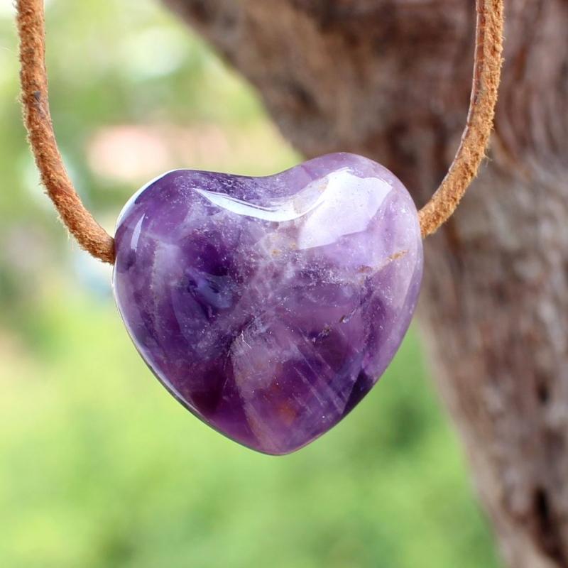 Amethyste Heart Pendant Stone AA-Quality 23mm