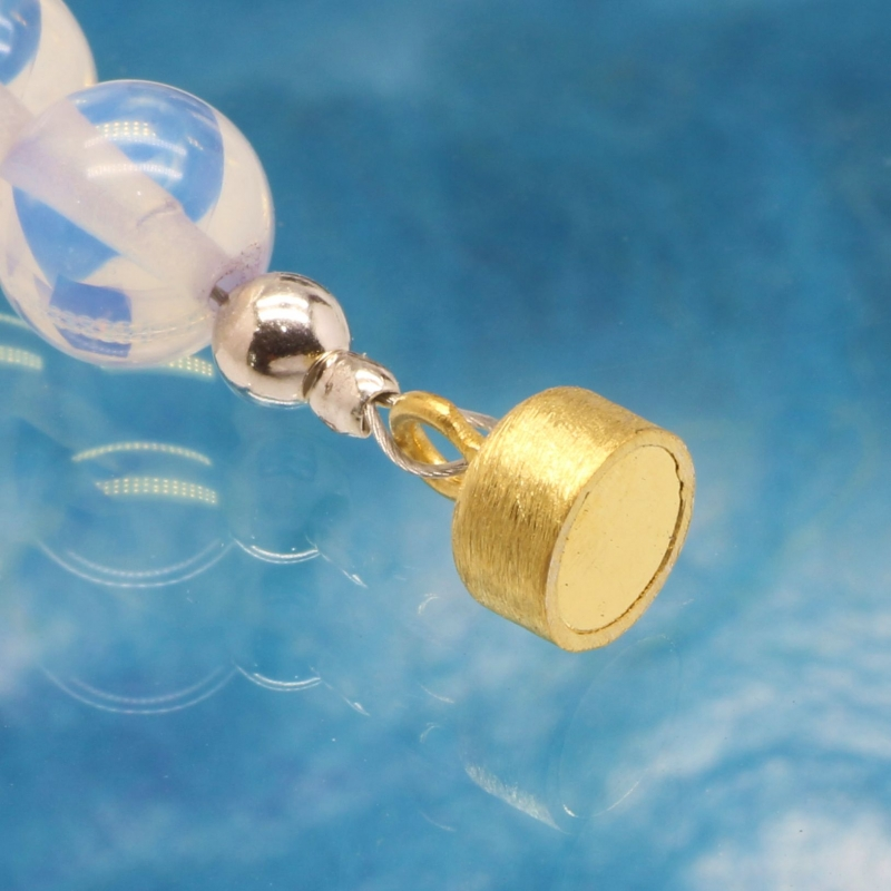 Magnetic clasp gold-plated brushed ball clasp 7mm Ø silver 925