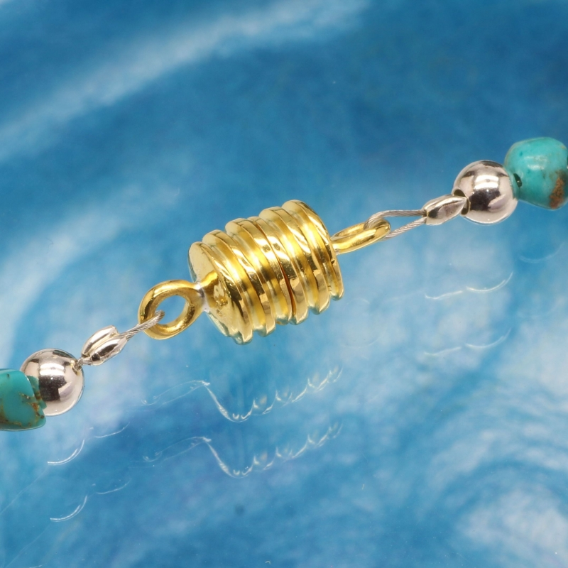 Magnetic Clasp Gold Wave 7 mm Silver 925 gold plated