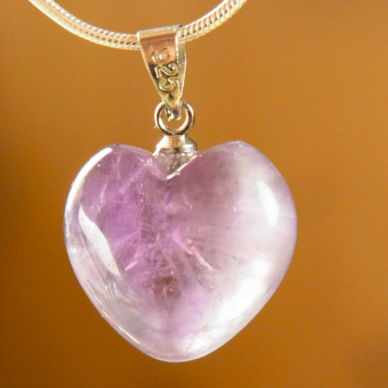Amethyste Heart Pendant 15mm Silver925 Hook A Quality
