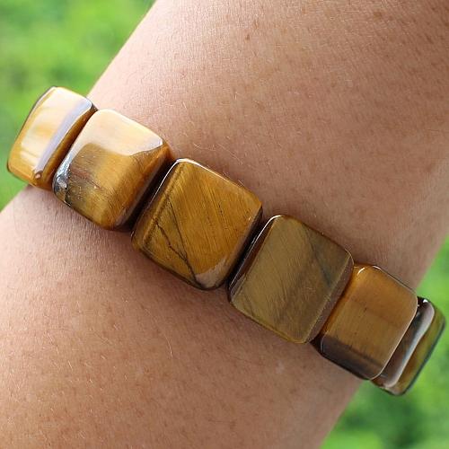 Tigerauge Stein Armband Quattro 14mm
