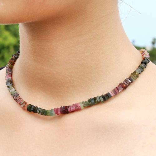 Turmalin Multicolor Halskette 45cm mit quadratischen Perlen Scheibe 5mm