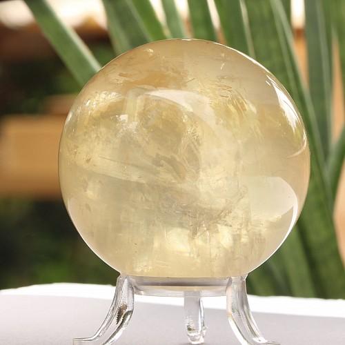 Calcit gelb Doppelspat Kugel eine Kalzitkugel gelb 40 mm