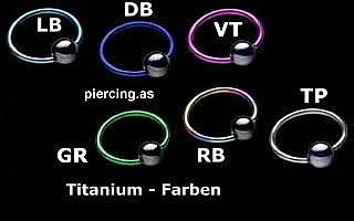 Titanium Klemmkugelring Hellblau Standard 1,2mm Piercingring