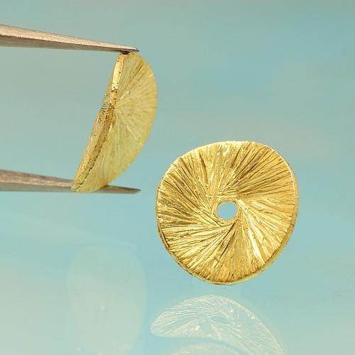 Zwischenteil Gold Scheibe gebogen gebürstet Silber vergoldet 8mm