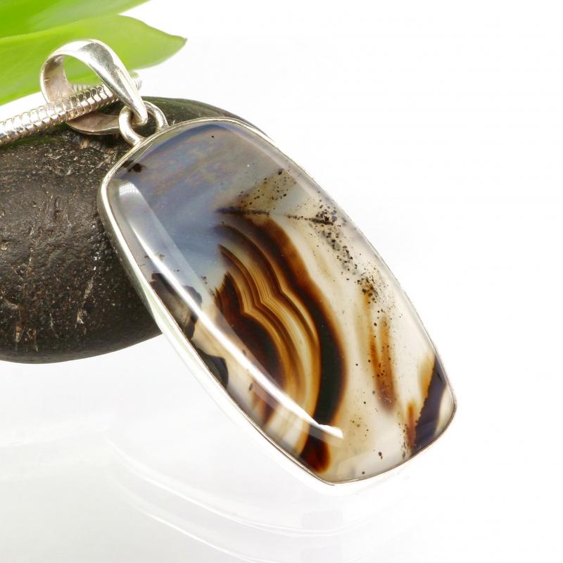 Achat Botswana Anhänger Naturstein Silber 925 43x25mm