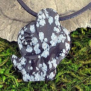 Anhaenger indischer Elefant aus Schneeflocken-Obsidian