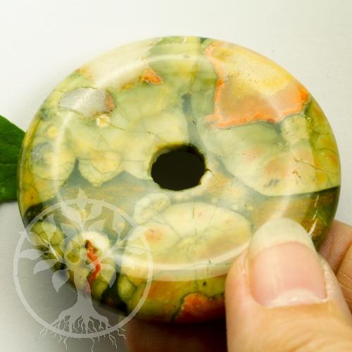 Rhyolith Donut 30mm Steinscheibe Grüner Rhyolit A