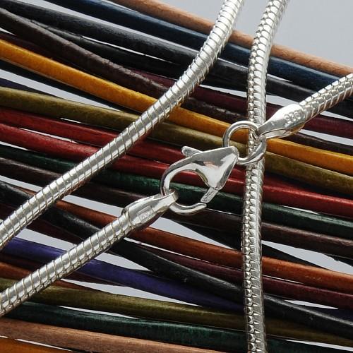 Silver Snake Necklace 38cm 1.2mm