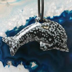 Schneeflockenobsidian Delfin gross