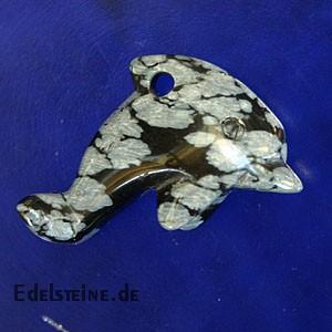 Delfin aus Schneeflocken-Obsidian klein