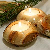 Teelichtständer Onyx Marmor Ufo Kerzenständer Stein Halter