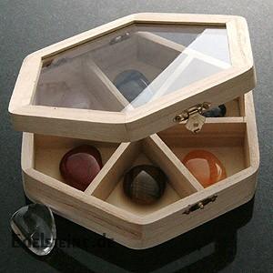 Setzkasten 6 eck Glasdeckel 6 Faecher Hexagon