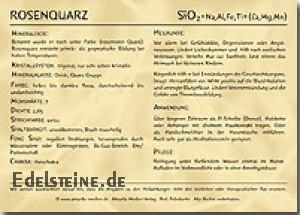 Rosenquarz Edelsteinkarte 100 Stück