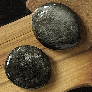 Silber-Obsidian Chakrasteine 5 Stück