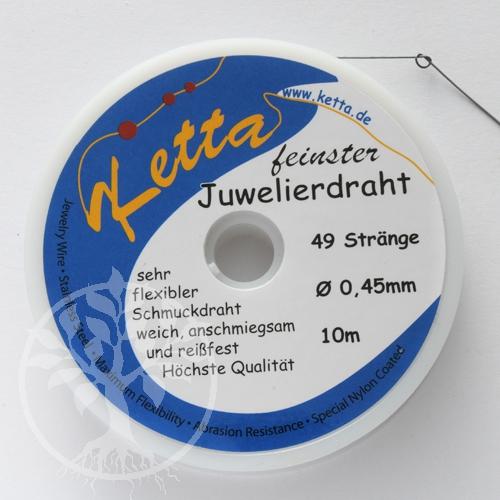 Juwelierdraht 49 Strang, silberfarben 0,45mm, 10er