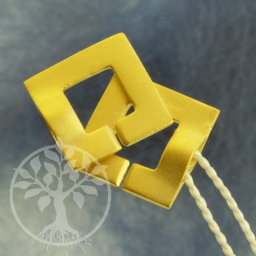 Clasp Ring-Ring Square goldplated frosted 12 mm