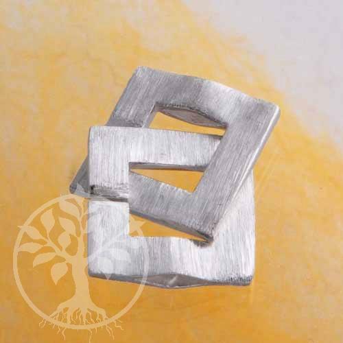 Ring-Ring Verschluß Quadrat gebürstet matt 15/26mm Silber 925