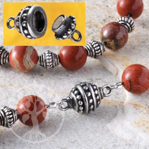 Magnetic Clasp, 13x7 mm, Oxi Silver 925