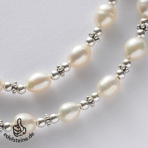 Perlenkette mit echten Zucht-Perlen Weiss