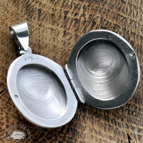 Medaillon aus echtem Silber flach