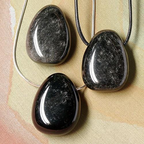 Silber Obsidian-Anhänger 3 Stück