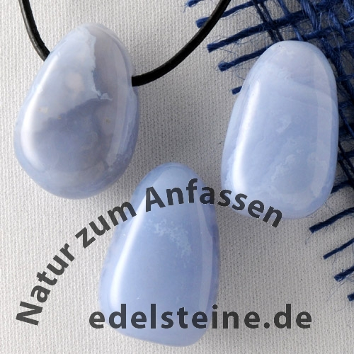 Chalcedon Blau AA gebohrt Chalcedonanhänger 20/25mm