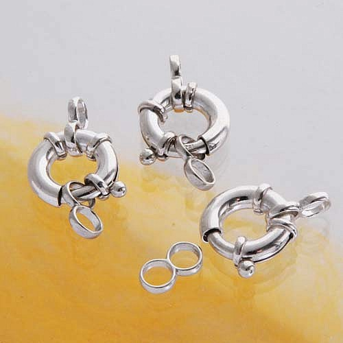 Silver-Clasp, Spring-Ring, 12 mm, 3 Pieces