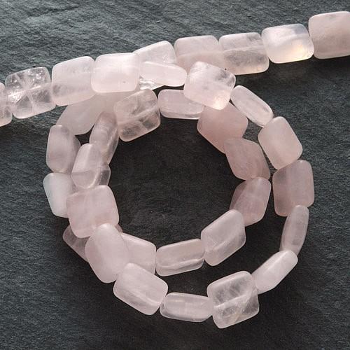 Edelstein-Perlen, Rosenquarz, Kissen 4,5x10 mm
