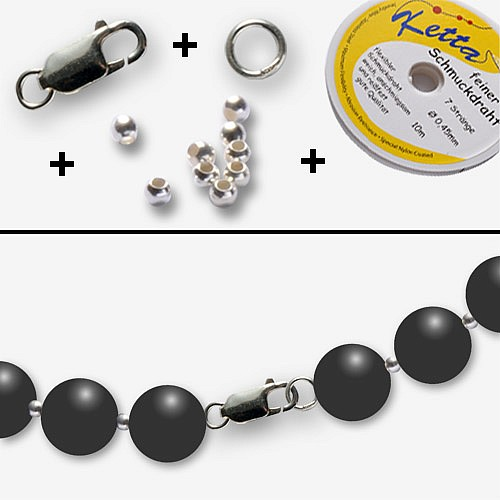 Jewelry craft kit  10 silver chains