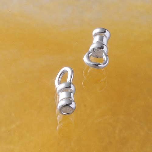 Endkappen zum Quetschen mit Ring für Bänder Kalotte Silber 925