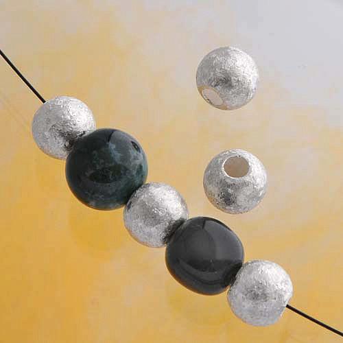 Silverbead, 8 mm, snowflake, big whole Silver 925 brushed matt Bead