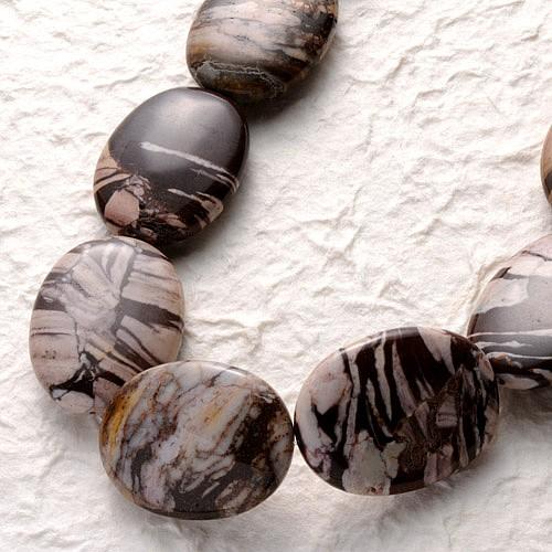 Cappuccino Jaspis Perlen Oval Flach 40x30mm 40cm A
