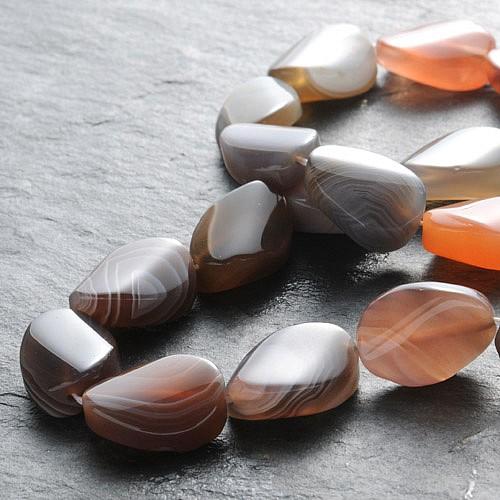 Achat Natur Perlen Oval Gewölbt 15x11mm