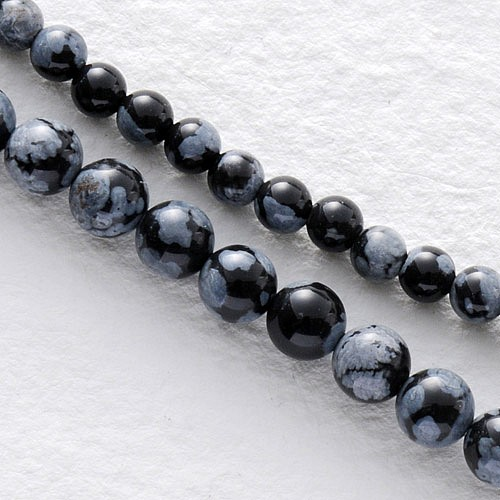 Schneeflocken Obsidian Mini Perlen Kugel 4mm