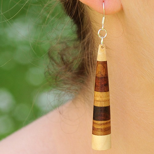 Gestreifter Ohrhänger aus Holz 70mm lange Ohrringe Silber 925 Haken