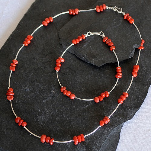 Korallen-Silber Armband