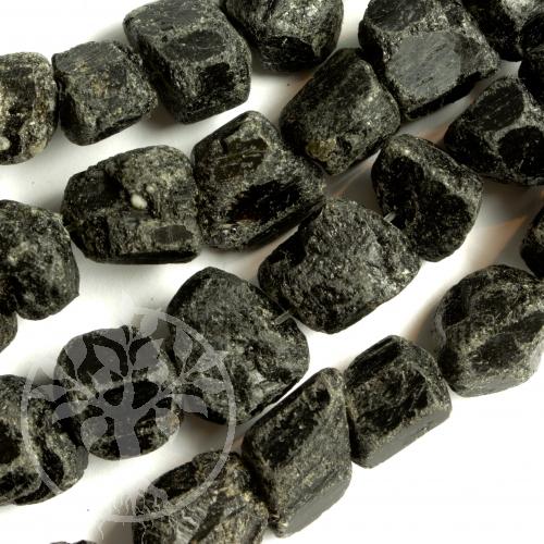 Schwarze Turmalinperlen angetrommelte Kristalle 12*17mm