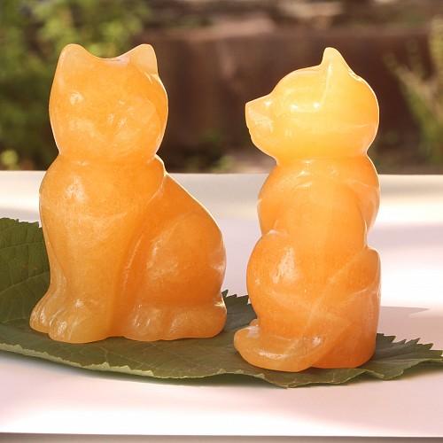 Katzenfigur Orangen Calcit 75mm Edelstein Katze
